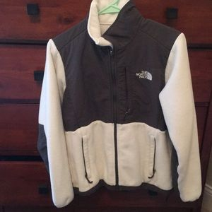 White and grey north face fleece size small